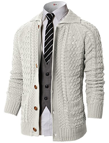 (H2H Mens Casual Knitted Shawl Collar Button Down Cardigan Beige US L/Asia L (KMOCAL0177) )