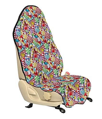 Ambesonne Candy Cane Car Seat Hoody, Bonbons Lollipops Sugary Treats Sweeties Colorful Pile for Occasions, Car and Truck Seat Cover Protector with Nonslip Backing Universal Fit, Multicolor