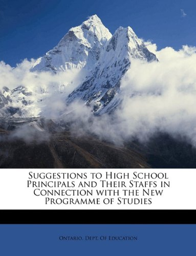 Suggestions to High School Principals and Their Staffs in Connection with the New Programme of Studies pdf