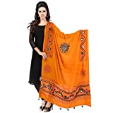 Banjara Women's Cotton Stoles & Dupattas Kutchi Mirrorwork Free Size Light Orange