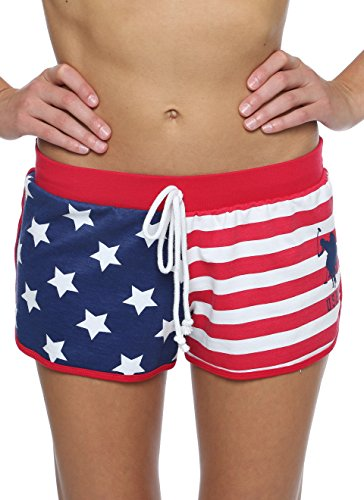US Polo Assn. Womens Sleep/Lounge Flag French Terry Shorts Lipstick Red ()