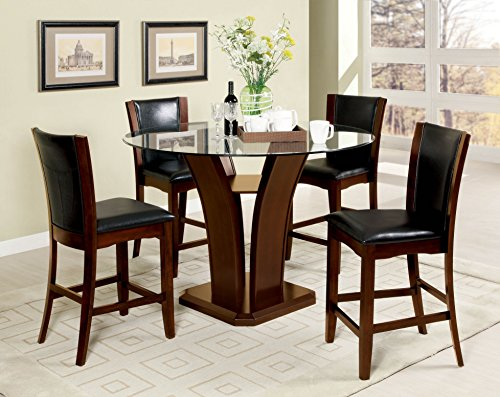 247SHOPATHOME IDF-3710PT-5PC Dining-Room-Sets, (Parsons Chair Glass Table)