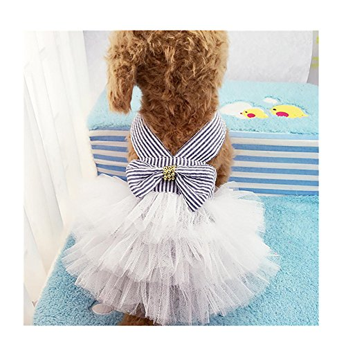 (Auwer Pet Dress, Bubble Skirt Stripe Lace Dress Dog Dress Princess Dresses For Dog Breathable and Comfortableess Dresses For Dog (XS, Navy))