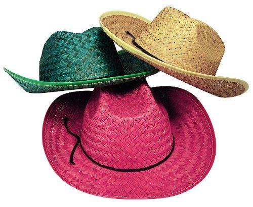 Fun Express Adult Assorted Straw Cowboy Hat (1 Dozen)