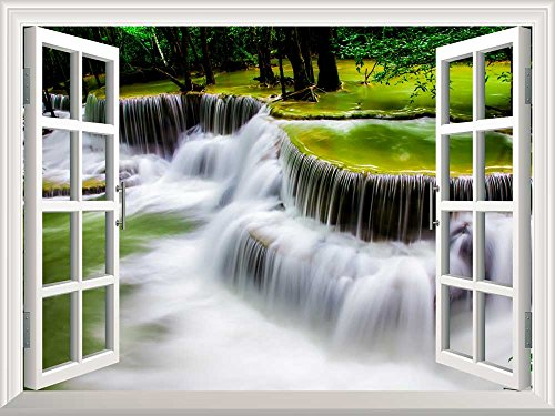 Removable Wall Sticker Wall Mural Cascading Waterfall Creative Window View Wall Decor