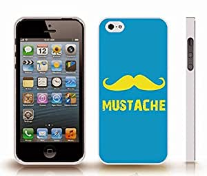 Case For Ipod Touch 5 Cover with Yellow Mustache Symbol and Text on Blue Background , Snap-on Cover, Hard Carrying Case (White)