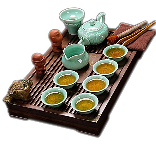ufengke Exquisite Oriental Ceramic Porcelain Kung Fu Tea Cup Set With Wooden Tea Tray, Chinese Tea Service, Home And Office Use, Light (Leaf Tray Set)