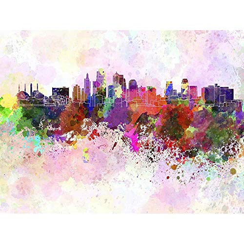 - Wee Blue Coo Painting Cityscape Kansas City Skyline Paint Splash Unframed Wall Art Print Poster Home Decor Premium