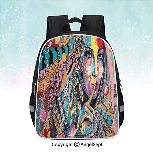 (Travel Backpack,Sexy Girl with Tribal Dreamcatcher and Ethnic Murky Oriental Bohemian Paint Decorative,13