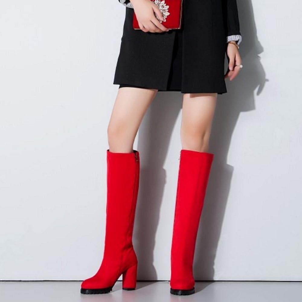 KemeKiss Womens Fashion Round Toe Side Zip Western Long Boots