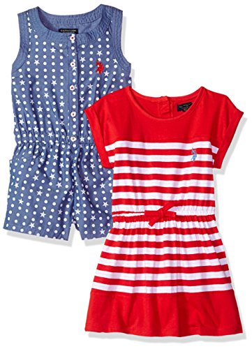 (U.S. Polo Assn. Girls' Toddler Multi, Pack Stars Romper Striped Knit Dress Engine red, 2T)