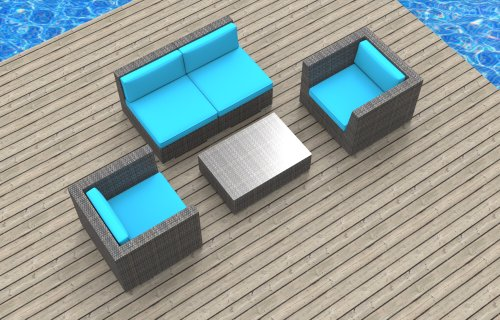 Urban Furnishing - Belize 5c Ultra Modern Outdoor Backyard Wicker Patio Furniture Sofa Sectional Chair 5pc All-Weather Couch Set - sea blue