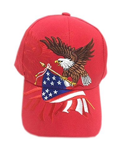 Aesthetinc Patriotic American Eagle and American Flag Baseball Cap USA 3D Embroidery (Red) ()
