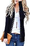 BONESUN Women's V-Neck Button Down Knitwear Long Sleeve Basic Knit Cardigan Sweater Black S