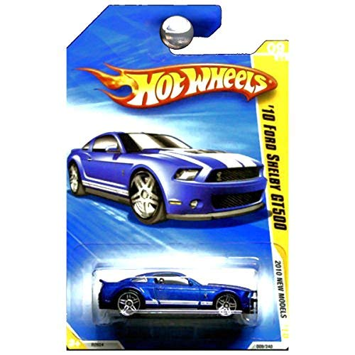 Hot Wheels 2010 New Models 2010 Ford Shelby GT500 Mustang GT-500 Blue with White Stripes