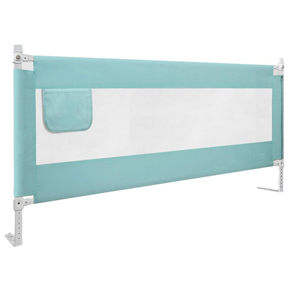 WHAIYAO-Bed rails Guard Family Infant Fence Eight Stalls Regulation Folded Vertically with Storage Bag, 2 Colors, 2 Sizes (Color : Green, Size : 180x85CM)