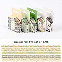 Gold Washi Tape Set Holiday Decoration Colorful Sea Wave Peak Flower Decorative Paper Tapes for Scrapbooking 5 Rolls Gold Foil Washi Masking Tape Gift Wrapping Planner