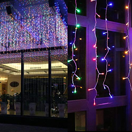 GYDING LED Window Curtain String Lights, Christmas Lcicle Lights 5M/16.4Ft 216 LED Starry Fairy String Lights Plug in 8 Modes for Wedding Party Bedroom Garden Patio Outdoor Indoor (Multi-Color, 5) (8 Function Multi Color Led Christmas Lights)