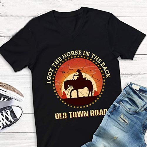 Old Town-Road Lyric I-got The Horse in The Back #Billy ray Cyrus Country Rap Music t Shirt t-Shirt Shirts (Black-L) (Ray T-shirt Billy Cyrus)