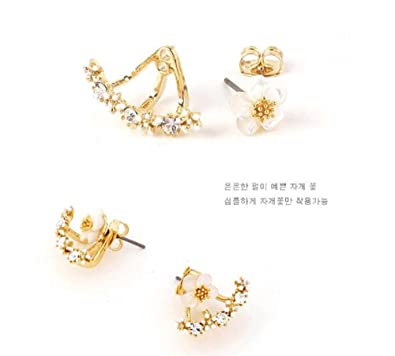 2c383c1a64af Amazon.com  Daisy Flower front and Back Two-Sided Stud Earrings Korean -  One Pair (Silver)  Jewelry