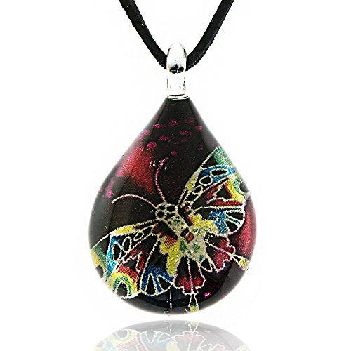 Chuvora Hand Blown Venetian Murano Glass Multi-Colored Butterfly Teardrop Pendant Necklace, 17-19 inches