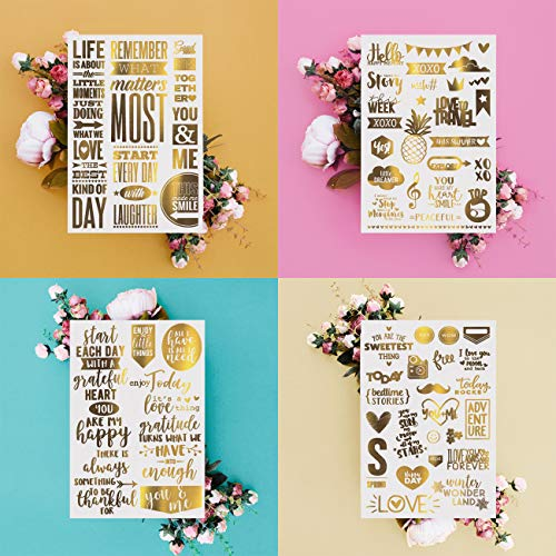 Gold Stick & Rub Scrapbooking Stickers | Love Stickers | Journal Stickers | Stickers for Laptop | Cool Stickers | Wedding Stickers | 4 Sheet Set, Gold Foil Transfers