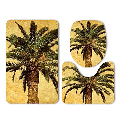 (Yilooom 3-Pack Bath Mat Set, Vintage Palm Tree Tropical 1 Absorbent Memory Foam Soft Shower Bath Rugs Contour Mat and Lid Cover,Non Slip Velvet Bathrug,Shower Toilet Bathmats Carpet)