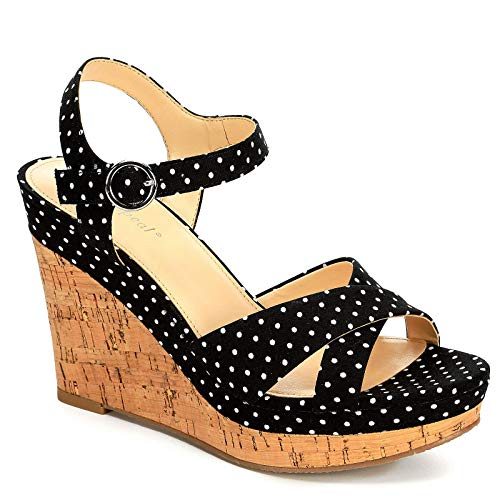 (XAPPEAL Womens Kara Platform Wedge Sandal Shoes, Black/White, US 10)