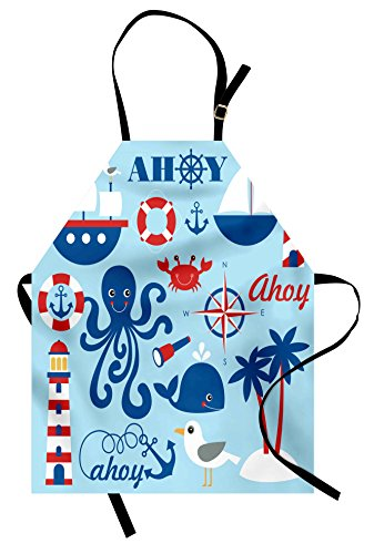 Lunarable Nautical Apron, Cheerful Sea Objects Group Palm Trees Octopus Spyglass Sea Gull, Unisex Kitchen Bib Apron with Adjustable Neck for Cooking Baking Gardening, Blue Red White]()