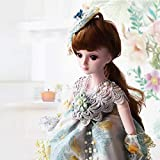 BJD Doll Lifelike 19 Jointed Reborn Dolls Baby Girl Toy Gift Dressup High Simulation Hair 3D Eye Can't Be Changed Wig Detachable HMYH