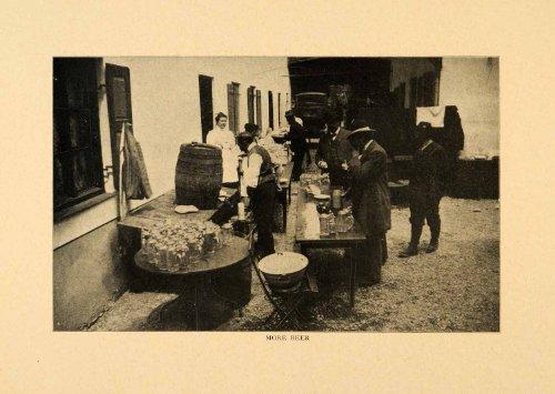 1903 Print Beer Oberammergau Germany Deutschland Stein Barrel Bavaria Beverage - Original Halftone Print - Bavaria Stein