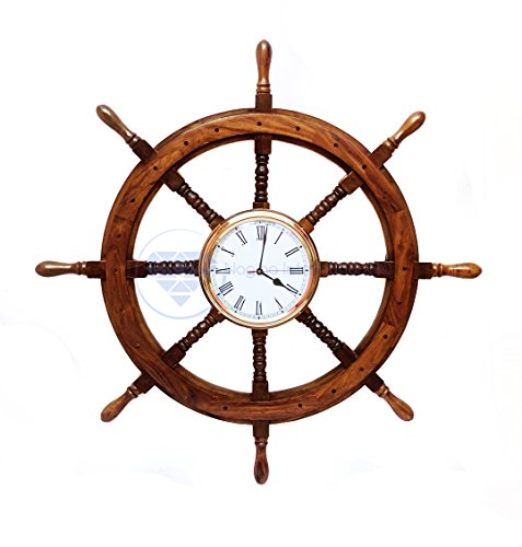 Solid Brass Ships Wheel Clock - Nagina International Premium Nautical Hand Crafted Brass Time's Clock Wooden Ship Wheel | Pirate's Wall Decor | Home Decorative Gifts (36 inches)