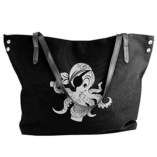 With Tote Handbag Bag Handbag Black Hobo Octopus Women's Cartoon Pirate Canvas Bottle Tote Shoulder Large Fn8qR1
