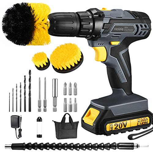 Cordless Drill, TOPELEK 20V MAX Lithium-Ion Cordless Drill/Driver Kit, Power Drill Set with 1/2 inches Keyless Chuck, Fast Charger, 2 Variable Speed, Built-in LED, 19Pcs Drill/Driver Bits, Grey