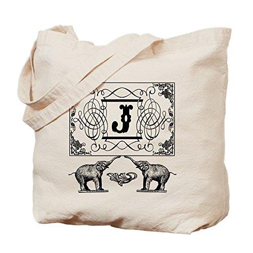 (CafePress - Letter J Ornate Circus Elephants Monogram Totebag - Natural Canvas Tote Bag, Cloth Shopping)