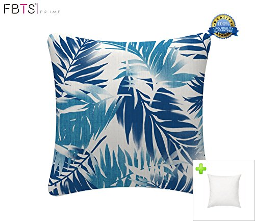 FBTS Prime Outdoor Decorative Pillows with Insert Blue Leaf Patio Accent Throw Pillow Covers 18x18 Inches Square Patio Cushions for Couch Bed Sofa Patio Furniture - ★VALUE BUNDLE - Includes 1 blue leaf outdoor decorative pillow cover 18x18 inches + 1 pillow insert. Suitable for indoor and outdoor use. Our outdoor throw pillows has a bright color and makes your garden dress even more beautiful. ★UV AND WATER RESISTANT - Carefully treated for outdoor use. Square 18 inches patio accent pillows is feature UV protection to resist fading, resists weather and fading in sunlight more than 500 hours. All products have passed the AATCC 16.E test standard. ★EXTRA COMFORT AND LONGEVITY - In order to make the pillow corner plump and fluffy, they were produced under a special processing. Even with the protective coating, the patio pillow covers still feel nice and soft to make for incredibly cozy lounging out on the patio or indoors. - patio, outdoor-throw-pillows, outdoor-decor - 51vi2Us2iFL -