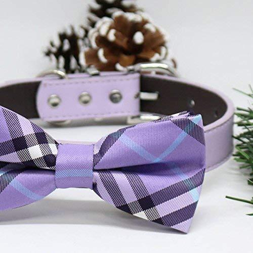 Pet wedding Handmade Lavender Plaid Dog Bow Tie Collar Christmas Gifts