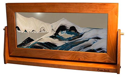 Colored - XL24 Sand Pictures - X Large Cherry Frame (Arctic Glacier Clear) Liquid Art, Beautiful Cherry Wood Frames with Shifting Sand Scenes. - English Cherry Frame