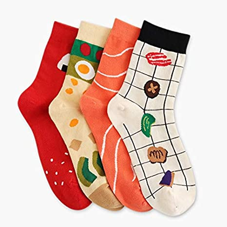 Amazon.com: VT BigHome Cartoon Funny Socks Creative Print Japanese Cake Egg Sushi Art Socks Women Calcetines Mujer Cute: Kitchen & Dining