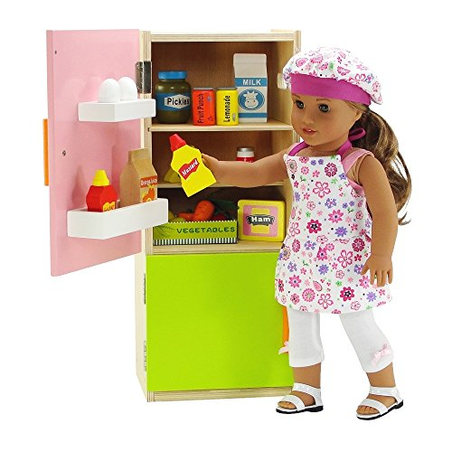 18 inch Doll Furniture | Brightly Colored Wooden Refrigerator with Freezer, Includes 20 Colorful Wooden Pretend Food Accessories | Fits American Girl Dolls