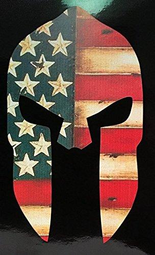Vigilante Helmet (Distressed American Flag Spartan Helmet Vinyl Decal Sticker Cars Trucks Vans Walls Laptops Full Color 5 In KCD629)