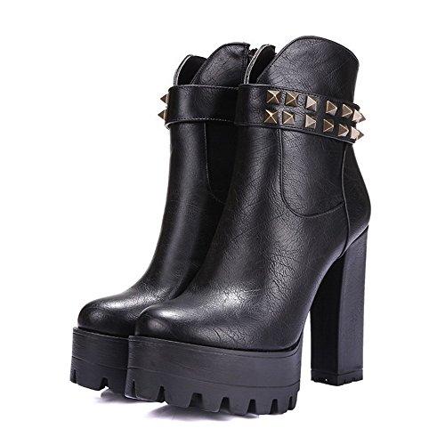 Allhqfashion Women's Boots and Heels Blend Heels Microfibre Materials Rough High Black with Platform qw4OrqRd