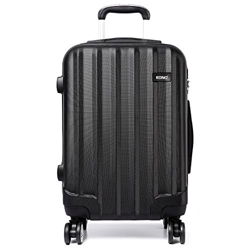 Kono Carry-on Luggage Super Lightweight Hard Shell ABS 20 Inch Cabin Suitcase with 4 Spinner Wheels (Black)