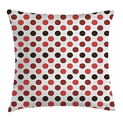 Nostalgic Throw Pillow Cushion Cover by Ambesonne, Classy Fashionable Pattern of Big Polka Dots Trendy Retro Design, Decorative Square Accent Pillow Case, Ruby Burgundy Dark Brown