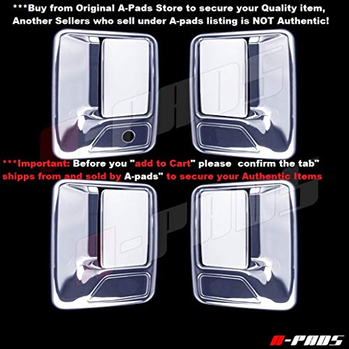 Handle Excursion Door Chrome (A-PADS 4 Chrome Door Handle Covers For Ford F-250, F-350, F-450 + Super Duty 1999-2016 - WITHOUT Passenger Keyhole)