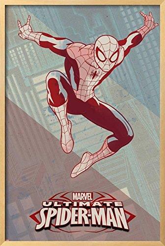 AllPosters Ultimate Spider-Man Art Deco 1 (Exclusive) Framed Poster, Chelsea Natural Frame