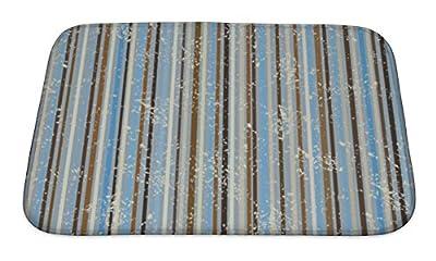 Gear New Striped Shabby Pattern Brown & Blue Bath Rug Mat No Slip Microfiber Memory Foam