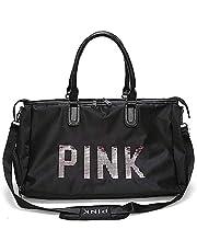 KH Gym Bag For Women,Pink Letters Pattern Waterproof Oxford Fabric Crossbody Bag,Large Capacity Sports Duffel Bag. Yoga Travel Handbag,Black Sports Bags & Backpacks,Shoulder Bag