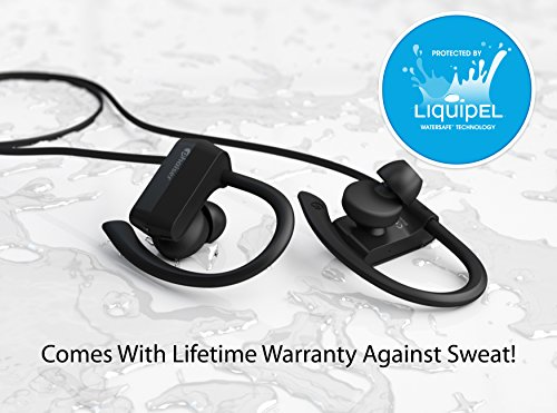 Phaiser BHS-430 Bluetooth Headphones, Sweatproof Wireless Earbuds For Working Out w\ Mic, Stereo Earphones for Exercise & Gym, Cordless Sport Headset - Blackout