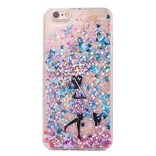 Floating Cell (Sunvy iPhone 7 plus Glitter Case Beautiful Lady Liquid Case Bling Floating Hard Case for 5.5 inch iPhone 7plus with a Screen Protector (Blue))